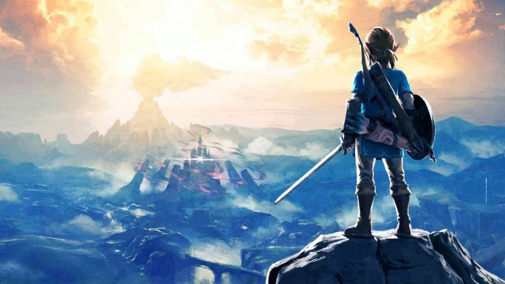 Link starring down Calamity Ganon and Hyrule Castle